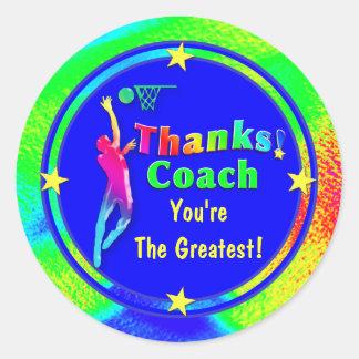 Basketball Coach Thank You Star Sticker