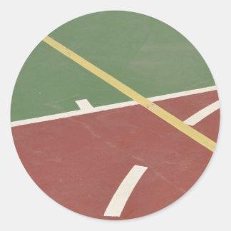 Basketball court classic round sticker