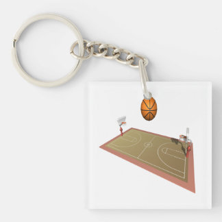 Basketball Court Double-Sided Square Acrylic Keychain