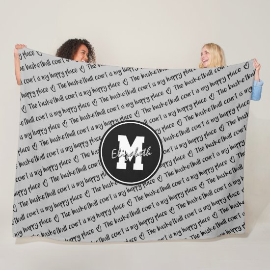 basketball court happy place gray black ANY color Fleece Blanket