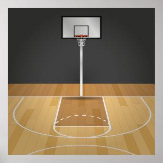 Basketball court illustration poster