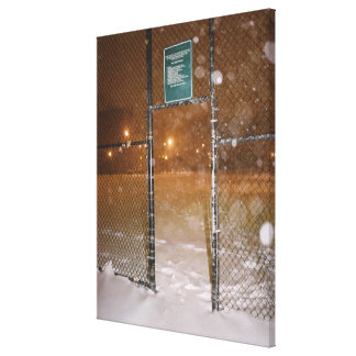 Basketball Court in Snow Canvas Print