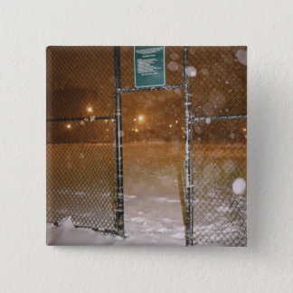 Basketball Court in Snow Pinback Button