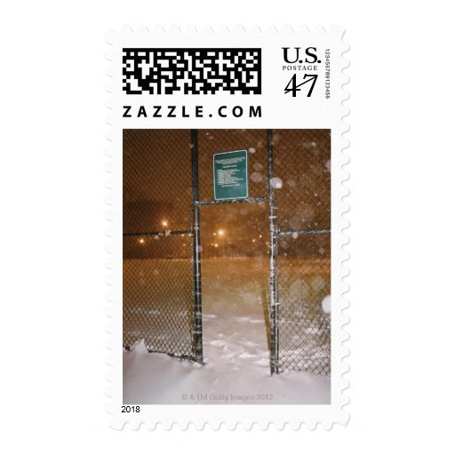 Basketball Court in Snow Postage Stamp