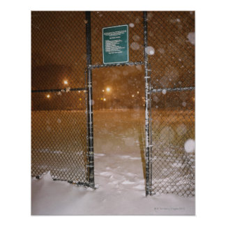 Basketball Court in Snow Poster