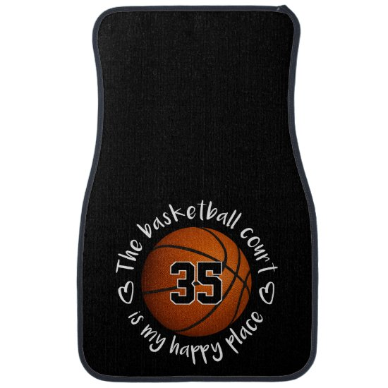 Basketball court is my happy place typography car floor mat