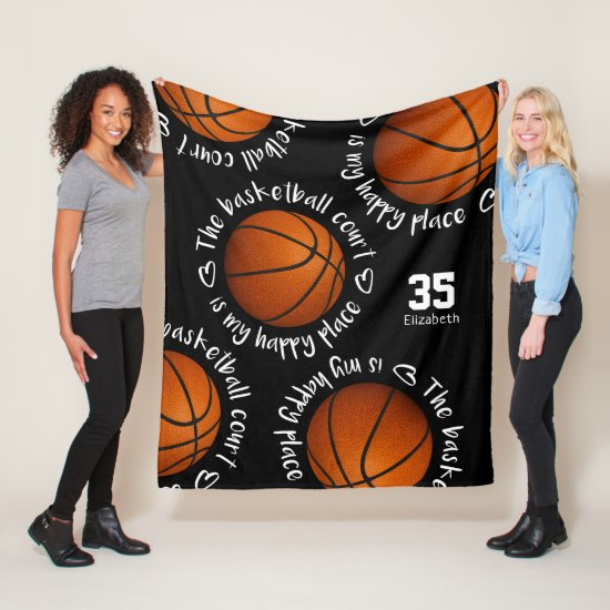 basketball court my happy place girly sports room fleece blanket
