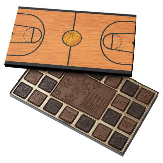 Basketball Court on Chocolate Box 45 Piece Assorted Chocolate Box