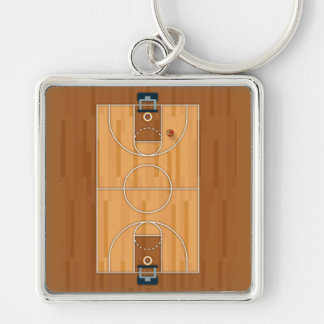 Basketball Court Pitch Hall Ball Pillow Silver-Colored Square Keychain