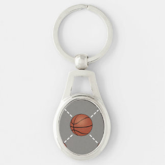 Basketball Court Silver-Colored Oval Metal Keychain