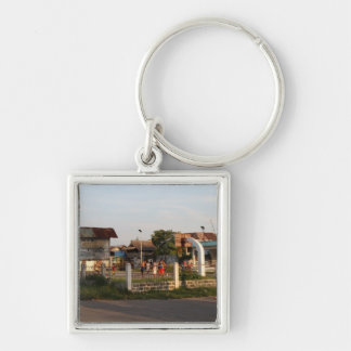 Basketball court Silver-Colored square keychain