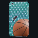 "Basketball Custom iPod Touch Case<br><div class=""desc"">Custom basketball fan iPod Touch case, with graphics of a aqua colored sports jersey pattern background. Graphics of a basketball decorates the bottom right corner of the case and custom dark brown colored text, on the left side, is ready to personalize. Great case for the sports fan or basketball player....</div>"