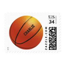 Basketball custom name postage stamps