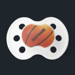 "Basketball custom pacifier<br><div class=""desc"">Change the text field to what you want. You can also change the font and its size and color by using the &quot;Customize it&quot; function. See my store for more items with this design.</div>"
