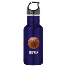 Basketball Custom Stainless Steel Water Bottle at Zazzle