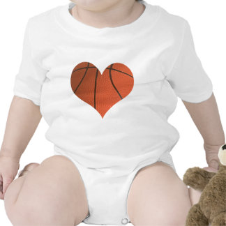 Basketball Cut Out Shaped As A Heart Baby Bodysuits