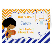 Basketball Cute African American Birthday Card