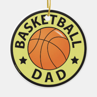Basketball Dad Double-Sided Ceramic Round Christmas Ornament
