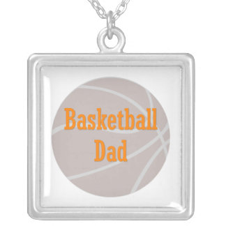 Basketball Dad Square Pendant Necklace