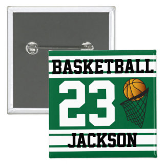 Basketball Dark Green & White Stripes | DIY Text 2 Inch Square Button