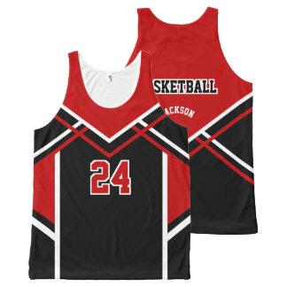 Basketball - Dark Red, White & Black All-Over Print Tank Top