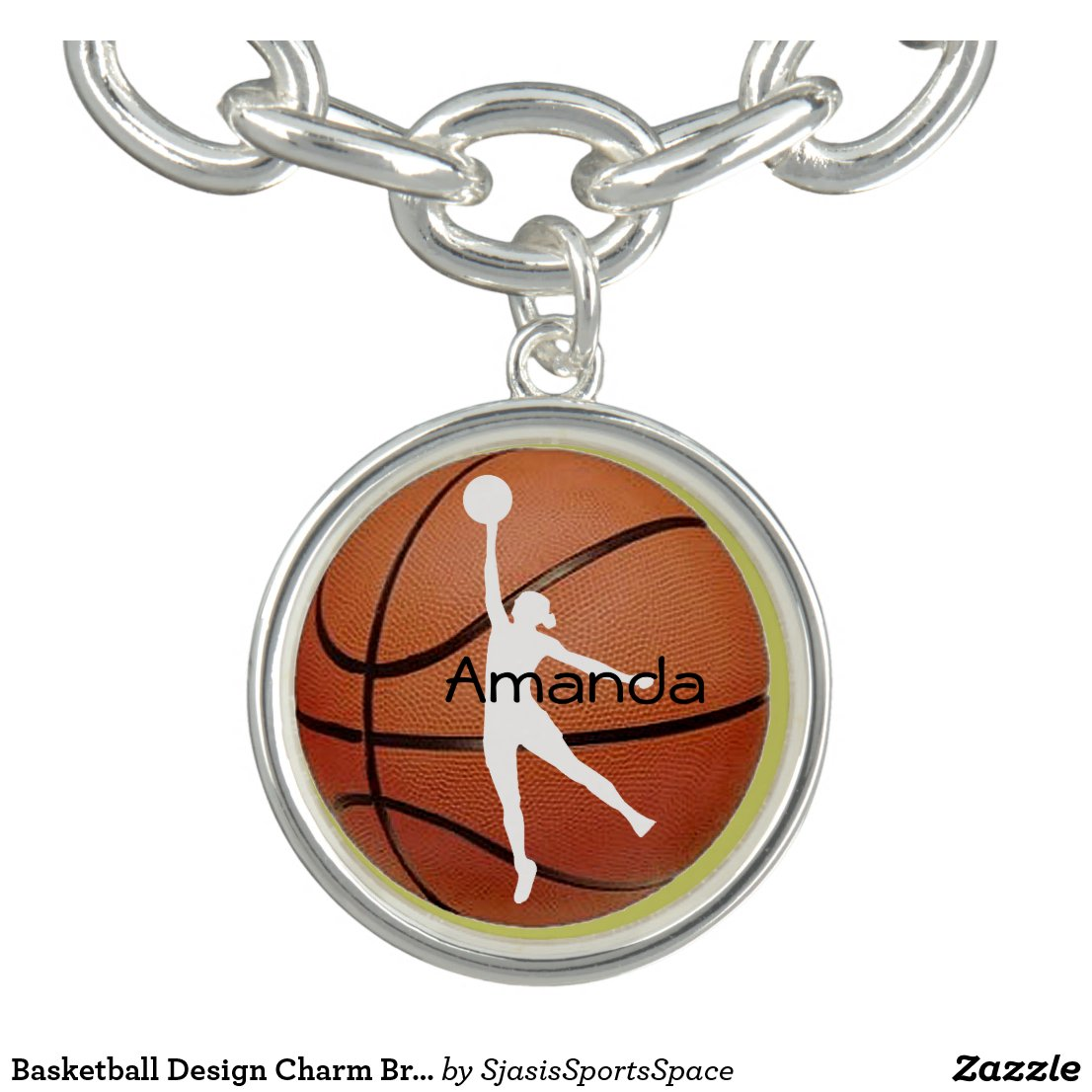 Basketball Design Charm Bracelet