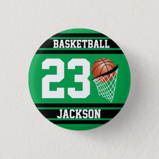 Basketball Design in Green and Black Button