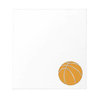 Basketball Design in Traditional Orange and Gray Notepad