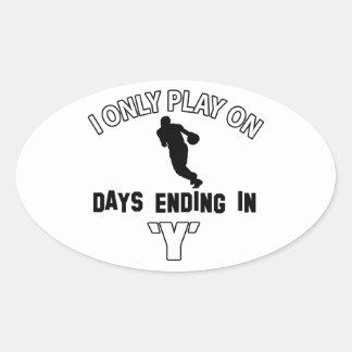 basketball designs oval sticker