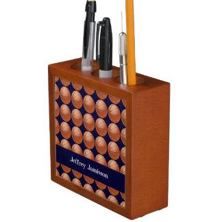 Basketball Desk Organizer, Blue, Personalized Pencil/Pen Holder