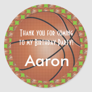 Basketball | DIY Background Color | Birthday Classic Round Sticker