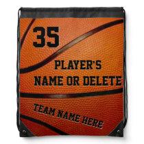 Basketball Drawstring Backpack Bags, 3 Text Boxes