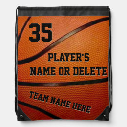 Basketball Drawstring Backpack Bags, 3 Text Boxes