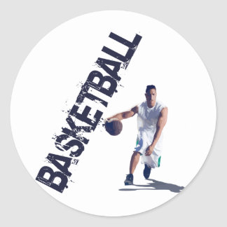 Basketball Dribble Classic Round Sticker