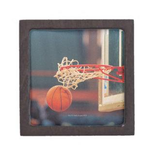 Basketball dropping through hoop keepsake box
