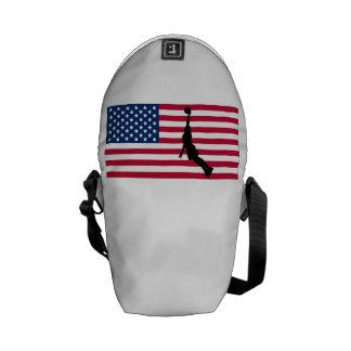Basketball Dunk American Flag Messenger Bag