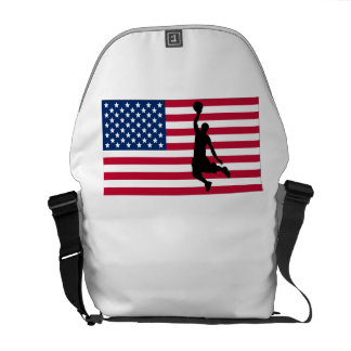 Basketball Dunk American Flag Courier Bags