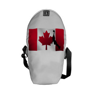 Basketball Dunk Canadian Flag Courier Bags