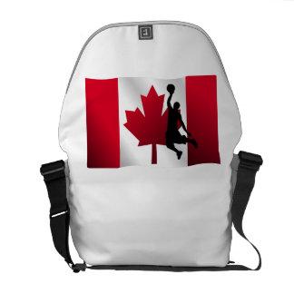 Basketball Dunk Canadian Flag Messenger Bags