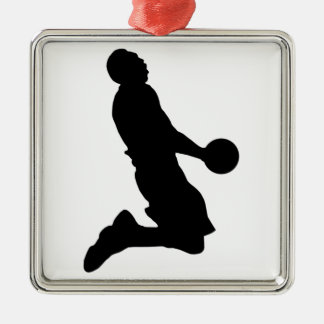 Basketball Dunk Silhouette Metal Ornament