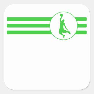 Basketball Dunk Stripes (Green) Square Sticker
