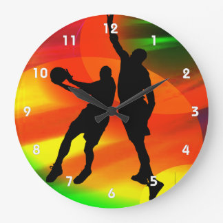 Basketball Duo Bright Court Lights Clocks
