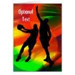 Basketball Duo Bright Court Lights - Customize Greeting Card