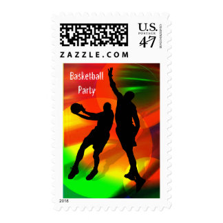Basketball Duo Bright Court Lights Party Postage
