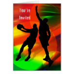 Basketball Duo Bright Court Lights You're Invited Greeting Card