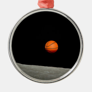basketball earth from moon space universe metal ornament