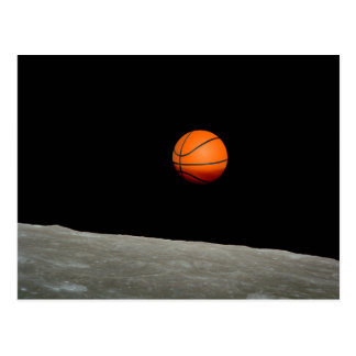 basketball earth from moon space universe postcard