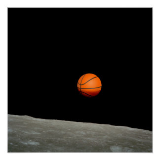 basketball earth from moon space universe poster
