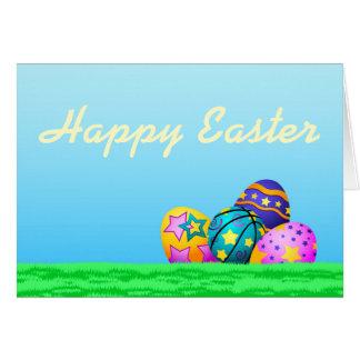 Basketball Easter Eggs in Grass Card