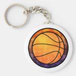 Basketball Emblem Orange Purple Mug Keychains